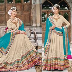 Salwar Kameez: Styled as anarkali suit with blue dupatta. perfect for party wear.