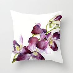 An array of lovely dendrobiums orchids, showcasing full blooms to small buds. T… An array of lovely dendrobiums orchids, showcasing full blooms to small buds. Arches Watercolor Paper, Watercolor Flowers, Fabric Paint Designs, Cushion Cover Designs, Fluffy Pillows, Decorative Pillow Cases, Linen Pillows, Fabric Painting, Pillow Design