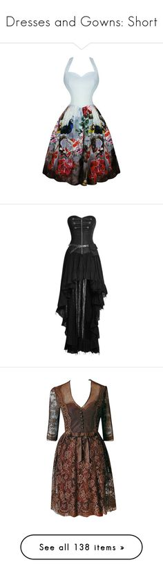 """""""Dresses and Gowns: Short"""" by thelventimelord ❤ liked on Polyvore featuring dresses, gothic lolita dress, peacock prom dress, gothic dresses, vintage cocktail dresses, gothic prom dresses, military style dress, long dresses, striped cocktail dress and steam punk dress"""