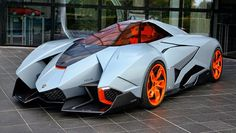 That car is called the Lamborghini Egoista. The Lamborghini Egoista is an anti-radar material packed bizarro, and is available for permanent public viewing at the Lamborghini museum.
