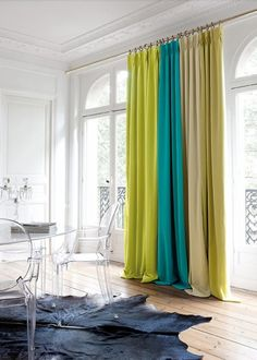 Rideaux - La Maison Du Beau Love the mix of colours in the curtains Office Curtains, Drapes Curtains, White Curtains, Smart Tiles, Curtain Designs, Dream Decor, Interior Design Inspiration, Soft Furnishings, Interior And Exterior