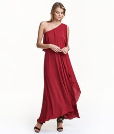 Dark red. One-shoulder maxi dress in crêped woven fabric with a wide flounce at top, seam at waist, wrapover skirt, and concealed side zip. Lined. H&M