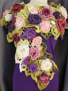 Retro Vintage Fiore con nappa Sciarpa Marrone Rosa Wrap Fiori Regalo Mamma