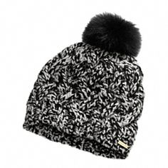 Coach BRAIDED CABLE HAT WITH BLACK FOX POM