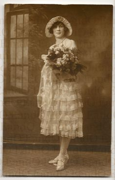 Beautiful Antique Real Photo Postcard RPPC Wedding Portrait  Bride in her Wedding Dress Late 1920s Early 1930s. $15.25, via Etsy.