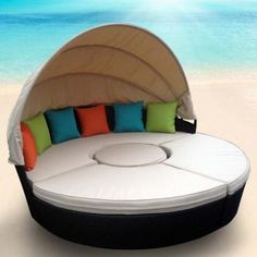 OUTDOOR DAY BED WITH CANOPY (4 PCE) - RATTAN WICKER FURFTSDB22