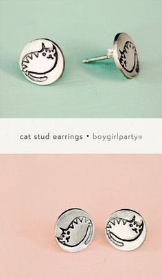"You will receive this pair of handmade original silver stud earrings featuring my original cat drawings! Each little stud measures approximately 3/8"" wide and is made of eco-friendly reclaimed silver"