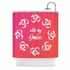 """KESS Original """"With My Omies Pink"""" Coral Magenta Shower Curtain"""