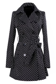 Dots Print Double-breasted Black Coat.  Have this!!!