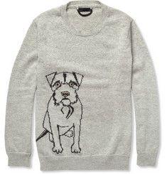 Burberry ProrsumDog-Patterned Cashmere Sweater