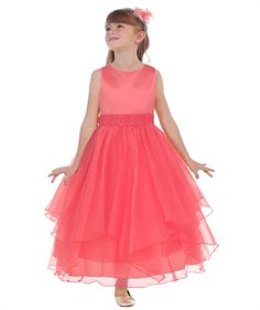 Satin bodice coral/ watermelon dress with beaded sash and layered organza skirt. Tea length - available in sizes Free delivery in Australia, next day delivery to Perth metro customers. Watermelon Dress, Princess Birthday, Birthday Dresses, Tea Length, Special Occasion Dresses, Sash, Bodice, Coral, Formal Dresses