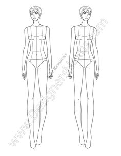 Download this free fashion illustration template of a female croqui standing in front view pose. This fashion croqui is ideal for showcasing full lengthdresses, sheath dresses, mini-skirts, or apparel designs with interesting front design details. Download in Adobe Illustrator as a vector croqui or in PNG format (with transparent background for easy layering in Photoshop, …