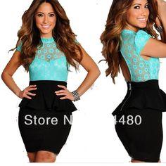 2014 New Fashion Plus Size dress for  Women Sweet Floral Lace Patchwork Mini Bodycon Peplum Evening Party Dress