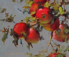 Montana Apples by Ann Hardy Oil ~ 9 x 12 Painting Inspiration, Art Inspo, Botanical Illustration, Illustration Art, Apple Art, Fruit Painting, Aesthetic Painting, Painting Still Life, Fruit Art