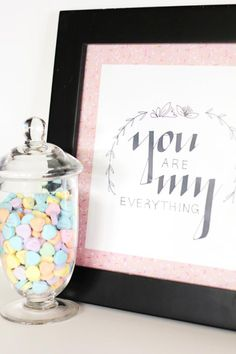Forgot about Valentine's Day? Here are 20 last-minute Valentine's Day ideas that are perfect to do last minute for a romantic Valentine's Day.: DIY You Are My Everything Art