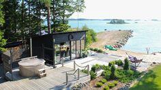 Scandinavian Cottage, Sauna Design, Summer Cabins, Summer Kitchen, Coastal Homes, Maine House, Beach Cottages, The Great Outdoors, Outdoor Living