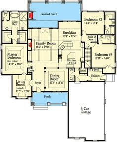 Floor 1  Plan No: W7213DS Style: Craftsman, European, Mountain Total Living Area: 2,755 sq. ft. Main Flr.: 2,755 sq. ft. Attached Garage: 3 Car, 800 sq. ft.