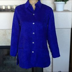 """❤️Sale❤️ Chico's Button Front Tunic Shirt Jacket Gorgeous shirt jacket from the Chico's outlet. Never worn but price tags were removed. This super soft top feels and looks like suede but isn't! The color is rich Royal Blue. It has front pockets and side slits. The bust measures approx 40"""" and the length approx 28"""". 100% Polyester. Machine Wash/Tumble Dry. This is a Chico's size 0 or XS but it is obviously over sized. Chico's Tops Button Down Shirts"""