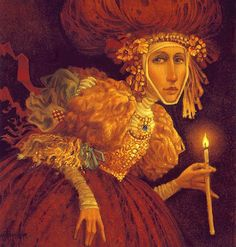 James C. Christensen Girl with Candle