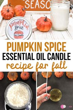 Making DIY scented candles is so easy. You can make homemade candles in mason jars for a rustic look or re-purpose old containers and jars. Making DIY candles with essential oils and soy wax creates a Homemade Soy Candles, Diy Candles Scented, Paraffin Candles, Essential Oil Candles, Essential Oils, Pumpkin Spice Candle, Pumpkin Candles, Fall Recipes, Candle Making