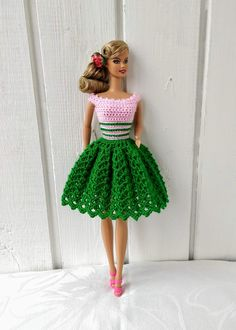 Crochet clothes 660129257861178496 - Barbie clothes Barbie Crochet Dress for Barbie Doll Source by Crochet Barbie Patterns, Crochet Doll Dress, Crochet Barbie Clothes, Doll Clothes Barbie, Crochet Doll Pattern, Barbie Doll, Dolls Dolls, Dress Barbie, Pink Dress