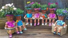 Just put some potting pots together to make these cute dolls