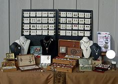 Jewelry display with old boxes.
