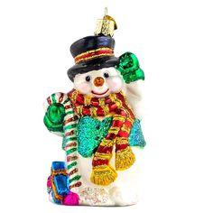 Candy Cane Snowman Old World Christmas Glass Ornament - Snowman ...