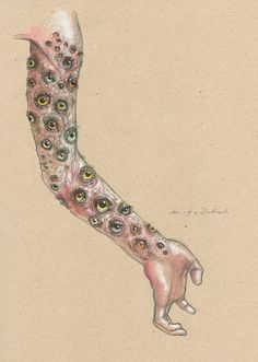 Arm of Dodomeki, mechanical pencil, watercolor, gouach.  This one sold at my first gallery show in New York. Yay!