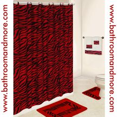 Lush Red Zebra Print Bathroom Set. Comes Complete With Fabric Shower  Curtain, Rings,