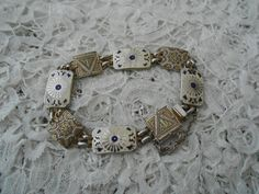 Enamel damascene bracelet 1950's by Nkempantiques on Etsy, €14.75