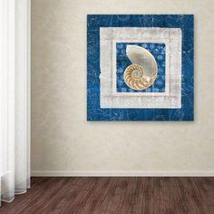 Trademark Fine Art Sea Shell II on Blue Canvas Art by Belinda Aldrich, Size: 18 x 18, Multicolor