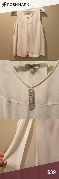 MADEWELL NWT off white blouse V front tank top 6 Ever been worn!! Really pretty off white color, flattering fit and versatile style! Size 6 (small/medium). Not sold in stores anymore Madewell Tops Tank Tops