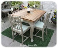 49. 1920's Oak Draw Leaf table and 4 Vintage Chairs