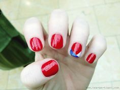 I like the simple-ness to this! red white blue nail | Red White and Blue at Nails Inc. - Paperblog