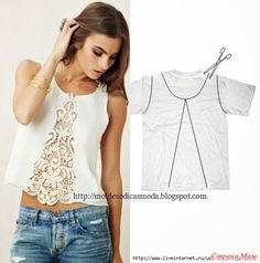 25 Inspirational Ideas for Transforming Your Old Shirts old t-shirt reuse ideas I would back the lace or use a fun cotton with a large print and fussy cut the pattern to create a fun edge like in the picturesCustomizar es la moda 2 ideas geniales up cycle Diy Clothing, Sewing Clothes, Upcycling Clothing, Recycled Clothing, Barbie Clothes, Umgestaltete Shirts, Diy Kleidung, Diy Vetement, Refashioning