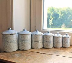 Vintage 6 Kitchen Canisters Blue And White Marble Pattern