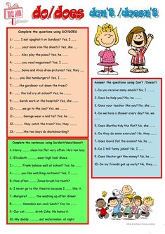 Individual Do/Does/Don't/Doesn't worksheet English Teaching Resources, English Worksheets For Kids, English Activities, Education English, Esl Lessons, Grammar Lessons, English Lessons, English Verbs, Learn English Grammar