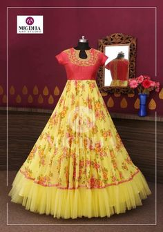 Refreshing design in floral print with hand touch in tint color combination from the house of mugdha art studio. Product code - MA 142 To Order : WhatsApp: 8142029190 / 9010906544 . Party Wear Long Gowns, Kids Party Wear Dresses, Party Wear Indian Dresses, Indian Gowns Dresses, Birthday Dresses, Half Saree Designs, Fancy Blouse Designs, Designs For Dresses, Long Gown Dress