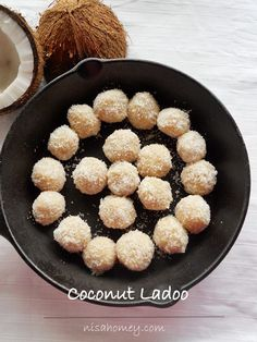easy 5 minutes coconut ladoo (Indian Dessert) step by step pictures. Indian Dessert Recipes, Indian Sweets, Indian Snacks, Sweet Desserts, Delicious Desserts, Yummy Food, Gourmet Recipes, Dog Food Recipes, Cooking Recipes