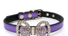 PETFAVORITES™ Couture Designer Fancy Cute Feather Bling Rhinestone Bow Tie Pet Cat Dog Collar Necklace Jewelry For Small or Medium Dogs Cats Pets Female Puppies Chihuahua Yorkie Girl Costume Outfits, Light and Adjustble Buckle. Custom Dog Collars, Cat Collars, Rhinestone Bow, Girl Costumes, Collar Necklace, Yorkie, Pu Leather, Jewelry Necklaces, Bling