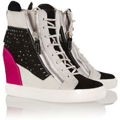 Giuseppe Zanotti Crystal-embellished suede wedge sneakers ($841) ❤ liked on Polyvore featuring shoes, sneakers, suede wedge sneakers, zip sneakers, wedge sneakers, zipper sneakers and round toe sneakers