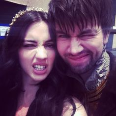 Mary (Adelaide Kane) and Bash (Torrance Coombs) behind the scenes on Reign #Mash