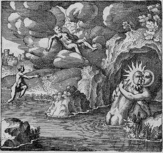 Emblem 34: He is Conceived in Baths, Born in the Air, and Being Made Red, He Walks Upon the Waters. Atalanta Fugiens, Michael Maier, 1617.