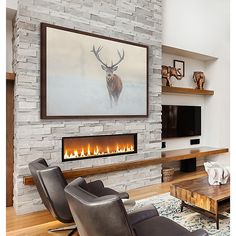 The Lone Buck Framed Wall Art from Marmont Hill features this majestic animal standing alone in a hazy field. Ideal for home, office or cabin retreat, this high quality work of art is beautifully framed and ready to hang. Fireplace Feature Wall, Fireplace Tv Wall, Basement Fireplace, Linear Fireplace, Cabin Fireplace, Fireplace Seating, Fireplace Remodel, Fireplace Ideas, Living Room With Fireplace
