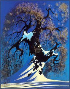 Winter Bonsai by Eyvind Earle, serigraph on paper, 1982 Gig Poster, Landscape Illustration, Illustration Art, Eyvind Earle, Different Kinds Of Art, Magic Realism, Cartoon Background, Cool Landscapes, Landscape Paintings