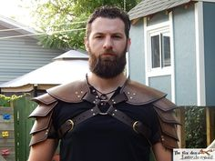 Viking leather shoulder armor. Single or double black or brown. Very high quality. (150.00 USD) by lantredurenard