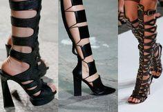 coleção de sandálias gladiadoras de salto
