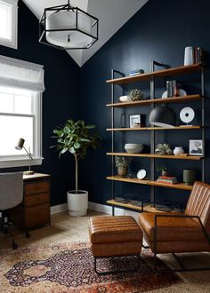 Industrial Home Offices, Industrial House, Home Office Setup, Study Office, Office Ideas, Modern Office Decor, Home Office Paint Ideas, Home Office Lighting, Office Rug