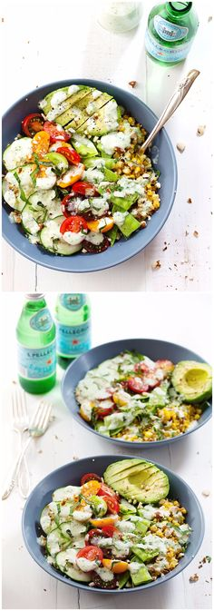 Rainbow Veggie Bowls with Jalapeno Ranch